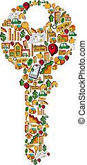 Real estate icon set key - Real estate icon key set in...