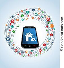 Real estate icon set mobile - Real estate icon set around...