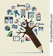 Real estate icon set pencil tree - Pencil tree shaped made ...