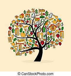Real estate icon set tree - Real estate icons tree set...