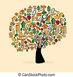 Real estate icon set tree - Real estate icon tree set in...
