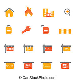 Real estate icons and symbols