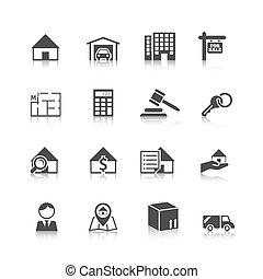 Real estate icons black - Real estate black icons set of...