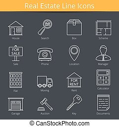 Real Estate Icons - 16 Real estate line icons, vector eps10...