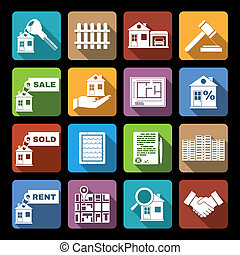 Real estate icons flat - Real estate flat icons set of sale...