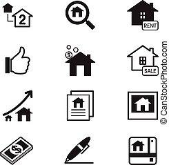Real estate icons Illustration symbol Vector