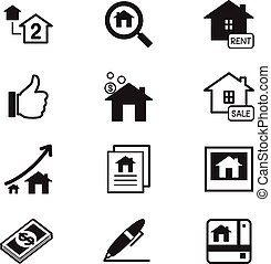 Real estate icons Illustration symbol Vector