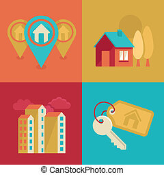 Real estate icons in flat style