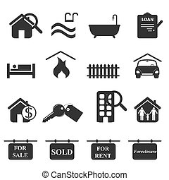 Real estate icons in gray
