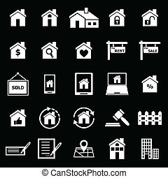 Real estate icons on black background, stock vector