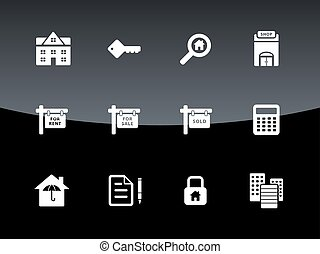 Real Estate icons on black background.