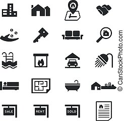 Real Estate icons on White Background. Vector illustration