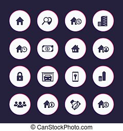 Real estate icons set, apartments, houses for rent, building, renting, lodging, booking, vector illustration