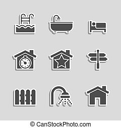 Real Estate Icons Set as Labels