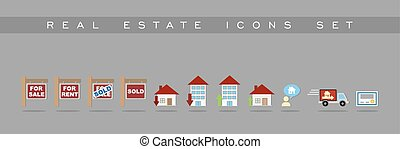 Real Estate icons set design