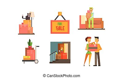 Real estate icons set, house for sale, people moving to a new home vector Illustration