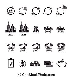 Real estate icons set.