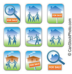 Real estate icons - Set of 9 professional real estate icons...