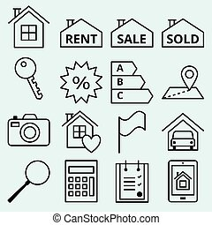 Real estate icons set of vector web site for sale
