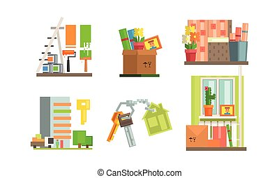 Real estate icons set, people moving to a new home, making repairs in the apartment vector Illustration