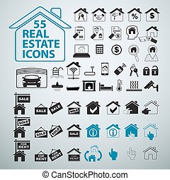 Real Estate icons set, vector business signs.