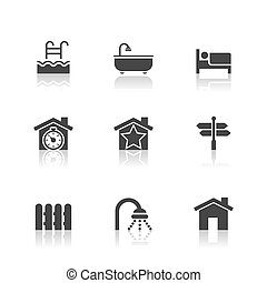 Real Estate Icons Set with reflection