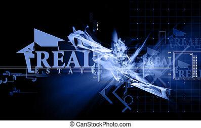 Real estate - Illustration of real estate in blue