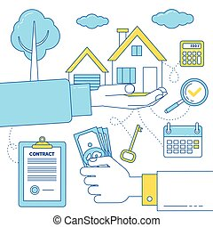 Real estate illustration with hand holding money and house