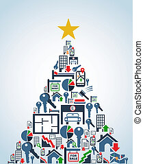 Real estate industry icons Christmas Tree