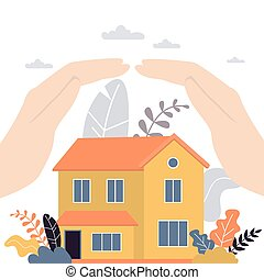 Real estate insurance concept background. Hands of businessman covering house with care.