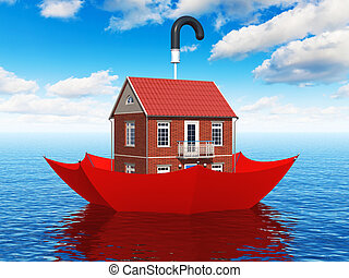 Real estate insurance concept - Creative real estate...