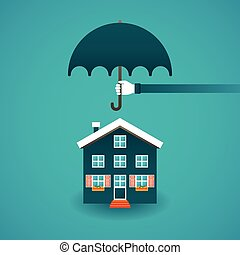 Real estate insurance concept in flat style