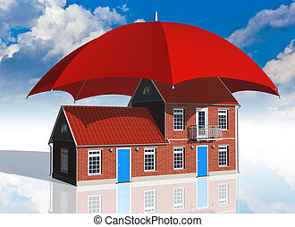 Real estate insurance concept: residential house covered by...