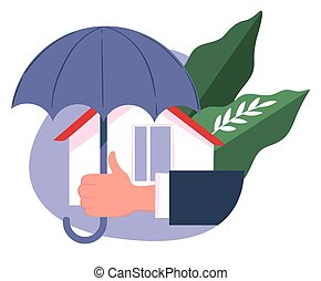 Real estate insurance, house under umbrella, company support