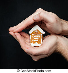 Real estate insurance, protection and property for sale concept