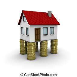 Real estate investment - 3d house on piles of coins