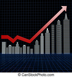 Real estate investment chart with wire frame floor 3d illustration