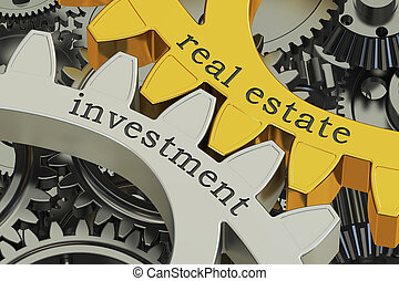 real estate investment concept on the gearwheels, 3D ...