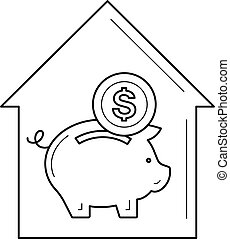 Real estate investment line icon. - Real estate investment...