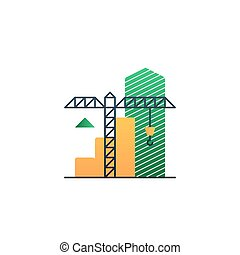 Real estate investment, under construction illustration, income growth