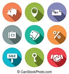 real estate, karten geben, wohnung, ikone, sammlung