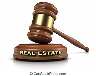 "Real Estate Law - Gavel and ""REAL ESTATE"" word writing on..."