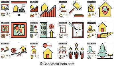 Real estate line icon set. - Vector set of real estate line...