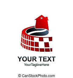 Real Estate Logo Design Element. Creative pixel House Home icon.