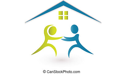 Real estate logo - Real estate agent selling a house icon...