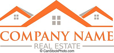real estate logo design with hand drawn houses and roofs.