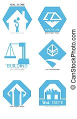 Real estate logo set. Vector flat icon pack.