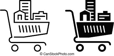 Real estate logo - shopping cart with buildings