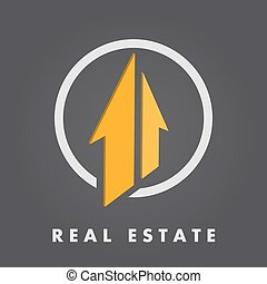 Real estate logo template, 3d vector on dark gradient ...