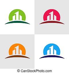 Real estate logo template, building construction concept, vector illustration design